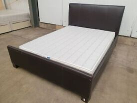 King Size 5ft Bed Brown Faux Leather DORMEO Mattress Headboard Footboard Used Bedroom Furniture