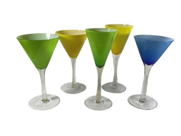 Vintage Italian Carlo Moretti Green/Yellow/Blue Cased Glass 5 Sets Wine Glasses