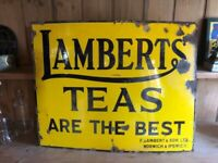 Lamberts Teas, original enamel advertising sign