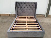 Double 4ft6 Bed Frame Upholstered Grey Velour Wooden Slats Headboard Used Bedroom Furniture
