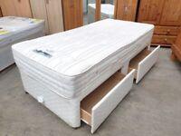 Single Divan Bed Sleepeezee Mattress Drawer Base Wheels Used Bedroom Furniture