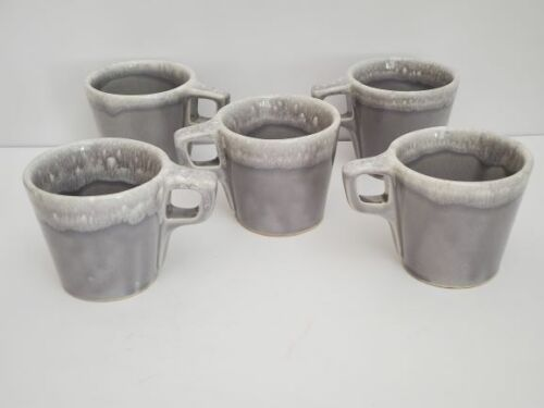 Vintage Hull USA Flint Gray Coffee Cups Mugs - Set of 5