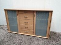 Pine Effect Sideboard MDF Glass Doors Shelves Drawers Used Dining Living Room Furniture