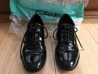 Girl's school shoes Clark's patent leather UK 5