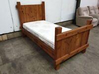Rustic Pine Single 3ft Bed Dreamworld Mattress Headboard Footboard Used Bedroom Furniture