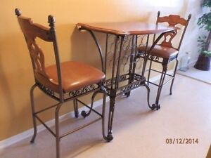 2 Bar Stools with Wine Rack Table