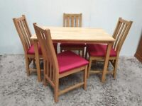 Dining Table 4 Chairs Beech Light Red Wooden Back Used Dining Room Furniture