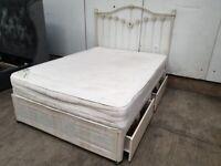 Double 4ft6 Divan Bed Mattress Headboard Drawers Used Bedroom Furniture
