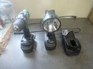 """Hitachi 1/2"""" drill, Light two batteries and charger"""