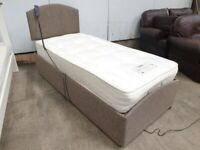 Single 3ft Electric Bed Healthbeds Mattress Headboard Upholstered DarkBrown Used