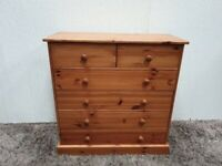 6 Drawer Chest Pine Wooden Knobs Metal Runners Used Bedroom Furniture