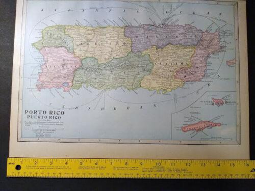 1904 Map of PORTO RICO Monarch Standard Atlas 12 x 16 inch  Color M75