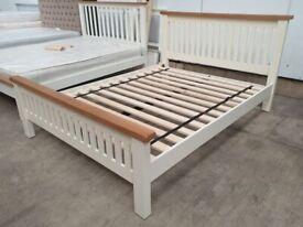 Ex Display King Size 5ft Bed Frame Cream Oak MDF Headboard Footboard Slats