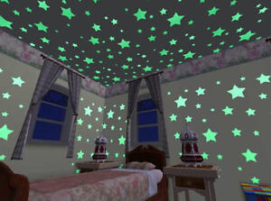 24 Glow In The Dark Plastic Stars Stickers Baby Kids Ceiling Wall Room Nursery