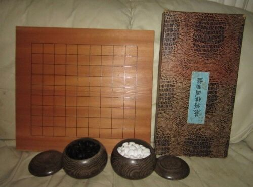 Vintage Japanese 2-Pc. Wood Go Board Game w/Box, Stones, & Pots