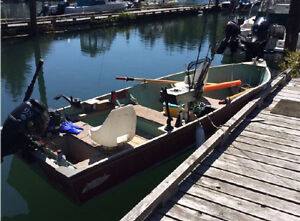 14' Lund Boat with 9.8 HP Outboard and Trailer
