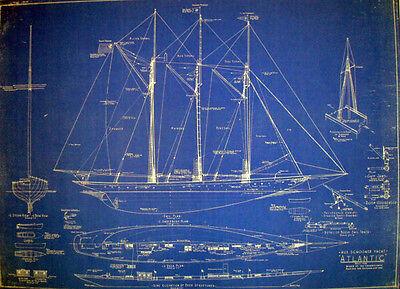 """Racing Schooner Yacht Atlantic 1905 Blueprint Plan Drawing 22"""" x 29"""" (078)"""