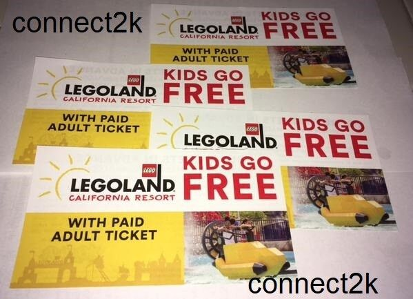 Купить KID CHILD GO FREE w/paid Adult Legoland California Email Code in MINS 12/31/2018