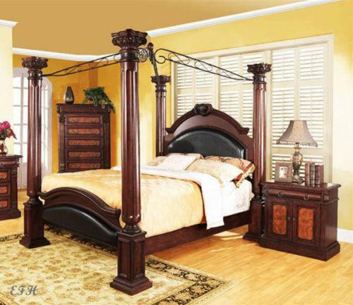 Wood canopy bed ebay - Four poster bedroom sets for sale ...