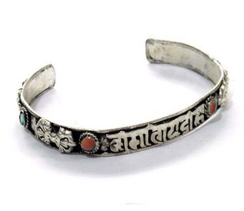 Tibetan 6 Turquoise Red Coral Carved OM Mani 4 Vajra Double Dorje Cuff Bracelet