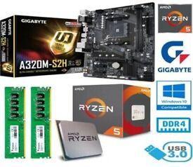 AMD RYZEN 5 3600 BUNDLE - 6 CORE - GIGABYTE A320M-S2H MOTHERBOARD - 16GB RAM