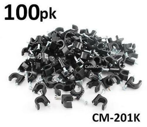 100-Pack Coax RG6 Nail On Cable Clips, Black