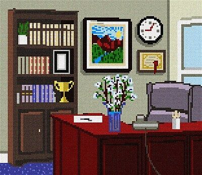 Office Space Needlepoint Kit or Canvas Office Space Kit