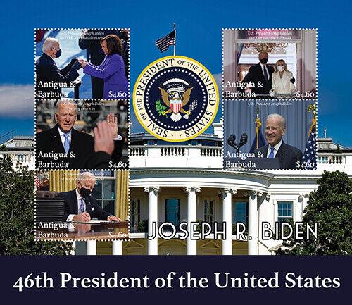 Antigua 2021 - President and First Lady Joe and Jill Biden - Sheet of 5 - MNH