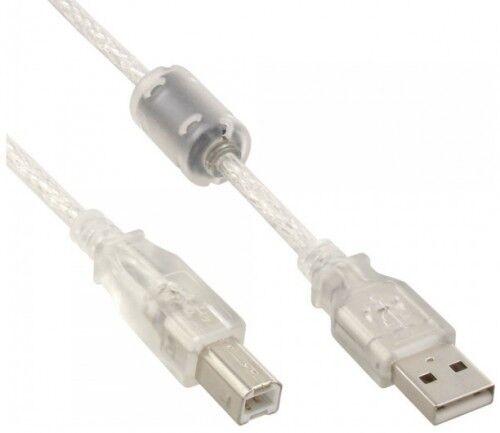 5m InLine USB 2.0 KABEL A / B STECKER DOPPELT GESCHIRMT+FERRITKERN TRANSPARENT