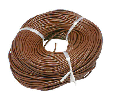 Brown Leather Cord Bracelet - 10 Feet Brown Leather Cord for Necklaces or Bracelets 3mm BULK