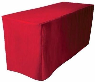 8 Ft. Fitted Polyester Table Cover Trade Show Booth Banquet Dj Tablecloth Red