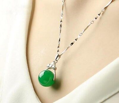 100% Natural Hand-carved Chinese green round bead Jade pendant Silver carving Hand Carvings Pendants