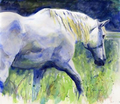 Giclee PRINT White Grey Percheron Horse Painting Art Day Off Archival (Horses Giclee Print)