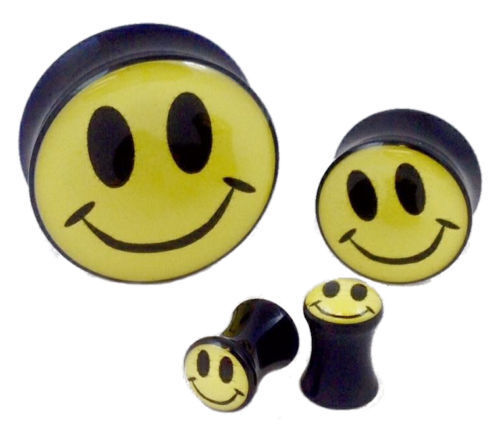 10pc Smiley Face Logo Double Flare Saddle Plugs - Large Gauge Wholesale Lot
