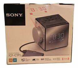 Sony ICF-C1PJ Alarm Clock FM/AM Radio Time Projection Dual Alarm USB Charger