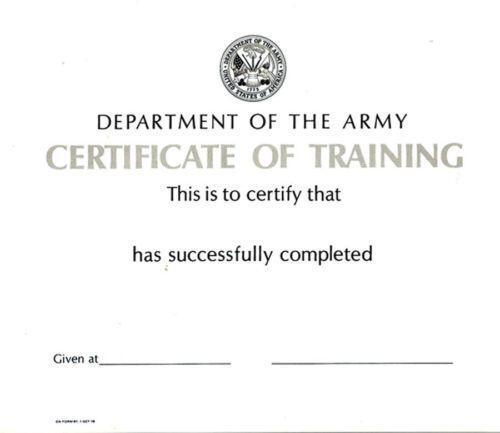 Army Certificate – Army Certificate of Training Template