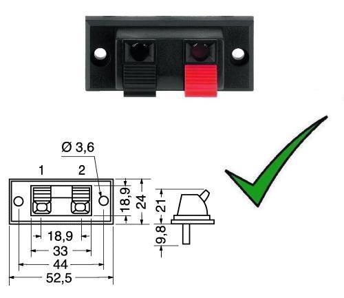 Morsettiera 2 poli per altoparlante - morsetto a molla per casse acustiche