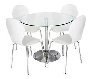 Glass Dining Table And White Chairs
