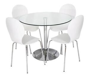 Round Glass Kitchen Table. Table Glass Dining Table And White Chairs Inside  Round Kitchen L