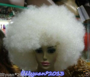 Charming white blonde big Afro Ladies Synthesis Wig + wig cap