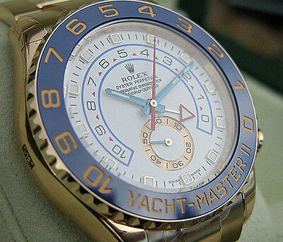 Rolex YACHT MASTER II 116688 Yellow Gold Blue Ceramic Bezel White Dial 44mm