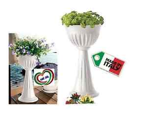Fioriera vaso a colonna calice in plastica bama bianco for Fioriera bama