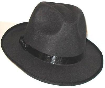 2 BLUES BROTHERS FEDORA HATS - Gangster Gangsta Pimp Black - Free Shipping