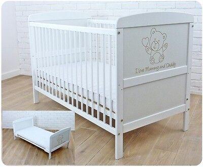 Kinderbett Bett Schienen (Neu Weiß Hölzern Baby Kinderbett Krippe 120 X 60 cm / Matratze / Zahnen Schienen)