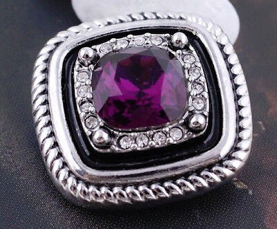 Silver Rope Square Purple Rhinestone 20mm Snap Charm Jewelry For Ginger Snaps
