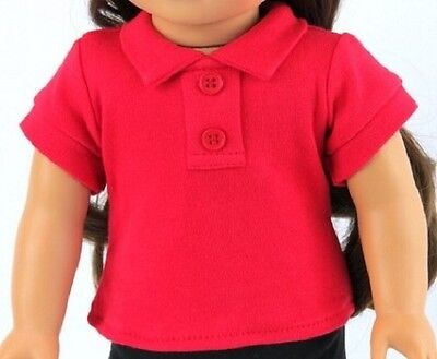 "Lovvbugg Red Polo T Shirt 2 Button for 18"" American Girl Or Boy Doll Clothes and Baby"