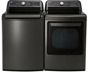 LG WT7600HKA-DLEX7600KE 5.2 cu. ft. Mega Capacity Top Load Washer AND Dryer Pair in Black Stainless Steel on sale at ani