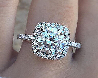 1.12 ct. Round Brilliant Cut Diamond Engagement Ring Halo F, SI1 GIA 14k White