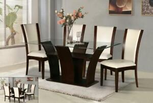 GLASS TOP DINNER TABLE SETS ON SALE (ND 53)