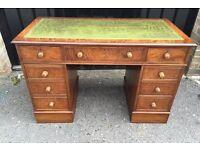 Walnut leather top desk